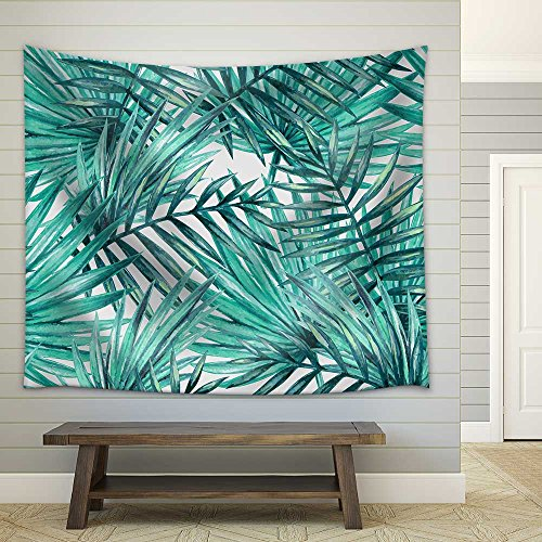 Watercolor Tropical Palm Leaves Seamless Pattern Fabric Wall