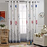 Melodieux Hot Air Balloon Light Filtering Grommet Top Curtains/Drapes for Children Room, 52 by 84 inch, White (1 Panel)