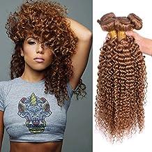 Cheap 7A Honey Blonde Brown #30 Peruvian Ombre Curly Wave 3PCS/Lot Virgin Remy Human Hair Bundles Mixed Length 10 12 14Inch Peruvian Jerry Curly Hair Weft 3 Bundles Total 300g