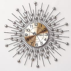 Lomoclock Wall Clock Mute Sun Movement Sweep Second Slient for Living Room Bedroom Kitchen AA Battery Silver Acrylic Diamond Sunburst with Arabic numerals Metal 24 Inch (Battery not included)