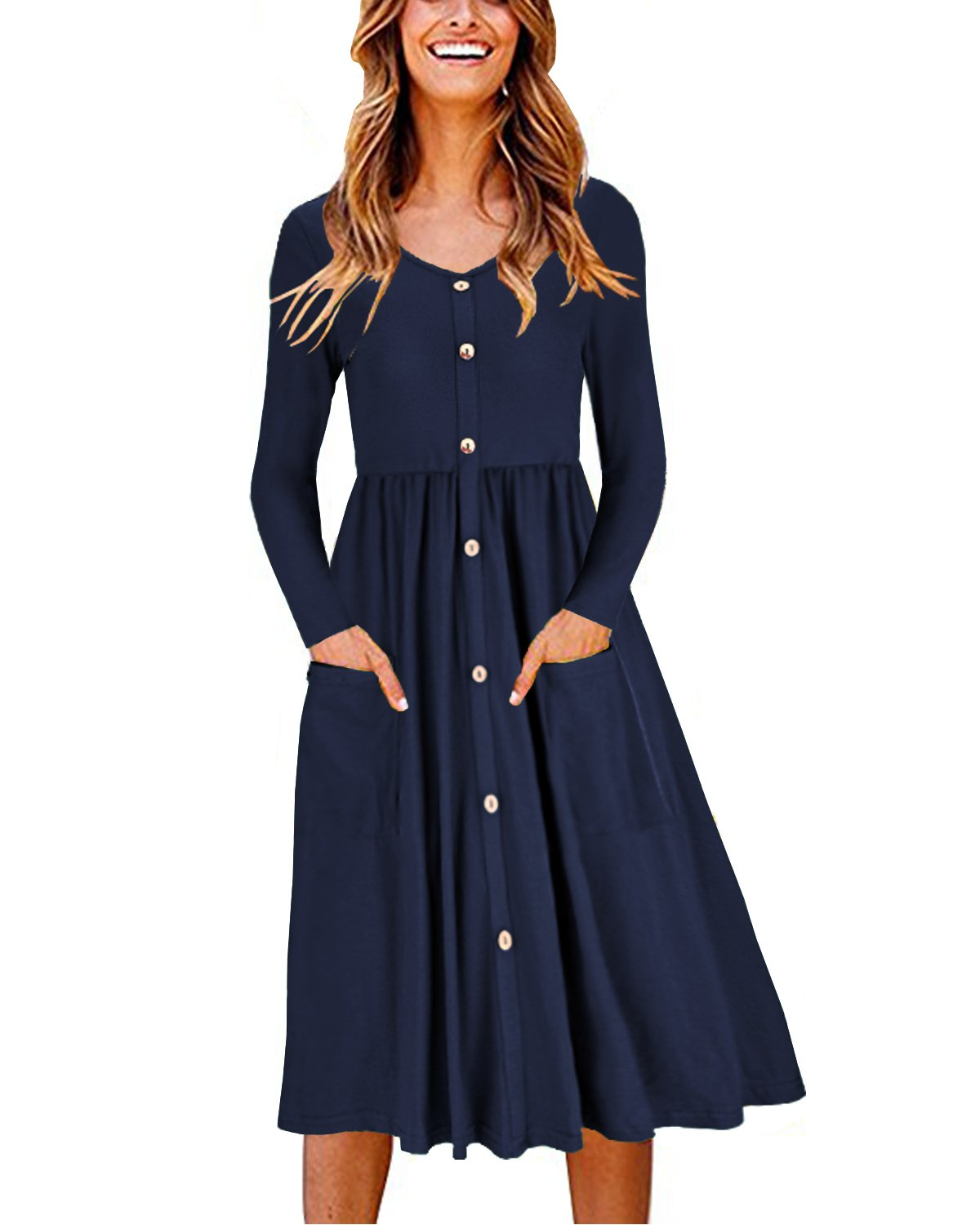 OUGES Women's Long Sleeve V Neck Button Down Midi Skater Dress with Pockets(Navy,S) by OUGES