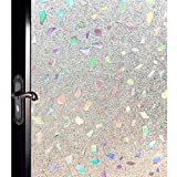 DUOFIRE 3D Window Film Color Gems Privacy Window Film Decorative Film Static Cling Glass Film No Glue Anti-UV Window Sticker Non Adhesive For Home Kitchen Office 23.6in. x 78.7in. DL005
