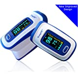 Finger Pulse Oximeter Portable Digital Blood Oxygen and Pulse Sensor Meter with Alarm - SPO2 - For Adults, Children, Sports Use - TempIR for Reliability and Excellent Customer Care