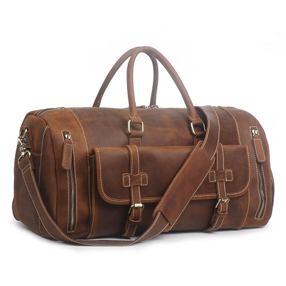 Color : Brown Yangjiaxuan Male Handbags Large Capacity Shoulder Diagonal Shoe Duffel Bag Weekend Outing Package