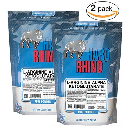 Hard Rhino L-Arginine Alpha Ketoglutarate (AAKG) Powder, 1000 Grams (2.2 Lbs), Unflavored, Lab-Tested, Scoop Included