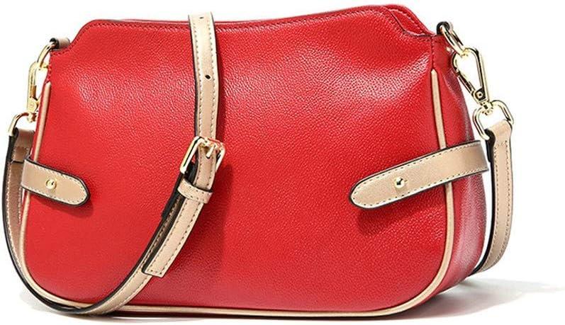 Jichuo Haute Qualité Rouge Noir Blanc Cuir véritable Mignon Petit Sac Messenger Sacs for Les Sacs d'épaule Dame Femme Fille Sacs à Main Femme (Color : Black) Red