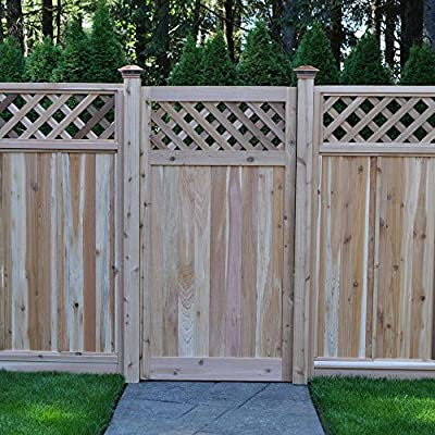 3 ft. x 6 ft. Western Red Cedar Flat Top Diagonal Lattice Fence Gate