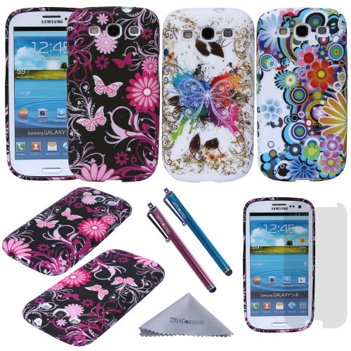 S3 Case, Wisdompro 3 Pack Bundle of Color and Graphic Soft TPU Gel Protective Case Covers for Samsung Galaxy S III / S3 (Flower Butterfly Pattern)