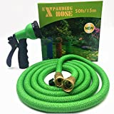 FlexiHose Upgraded Expandable 50 FT Garden Hose, Extra Strength, 3/4' Solid Brass Fittings - The Ultimate No-Kink Flexible Water Hose, 8 Function Spray Included