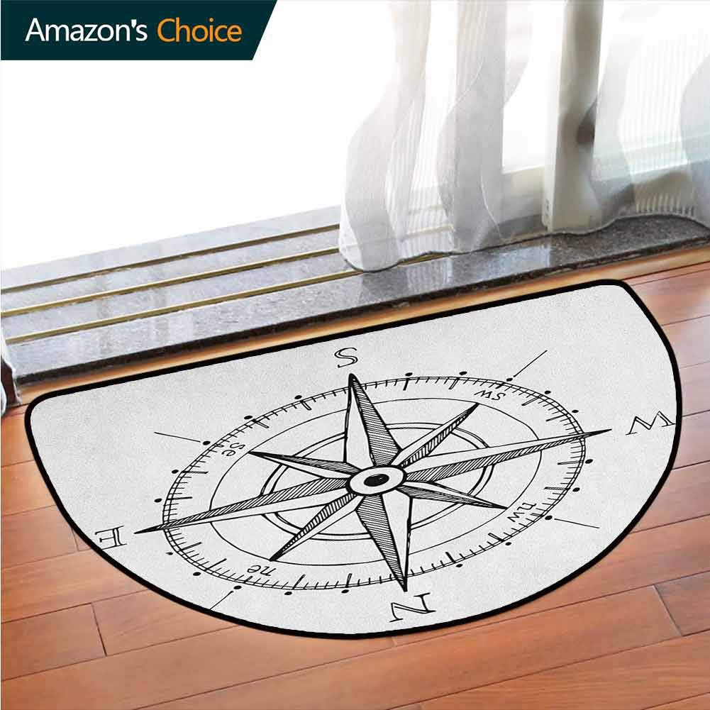 DESPKONMATS Compass Semi-Circular Carpet Mat Indoor, Hand Drawn Compass Windrose North and South East West Directions Black and White, Sofa Plush Area Rug, W70.8 x R39.4 Inches Black White by DESPKONMATS