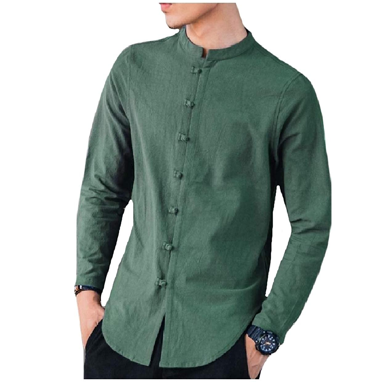Sebaby Mens Long-Sleeve Chinese Style Plus-Size Cotton//Linen Woven Shirt