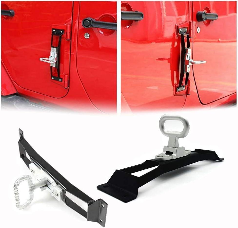 L&U Bisagra de Metal Negro Pedal de Paso Pedal de plegamiento Exterior Pedal del reposapiés Plegable para Jeep Wrangler JK 2007-2017,Black,2Pcs