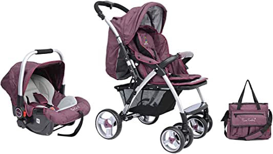 Pierre Cardin PS684B-TS 3 in 1 Baby Carrier and Stroller with Diaper Bag - Purple