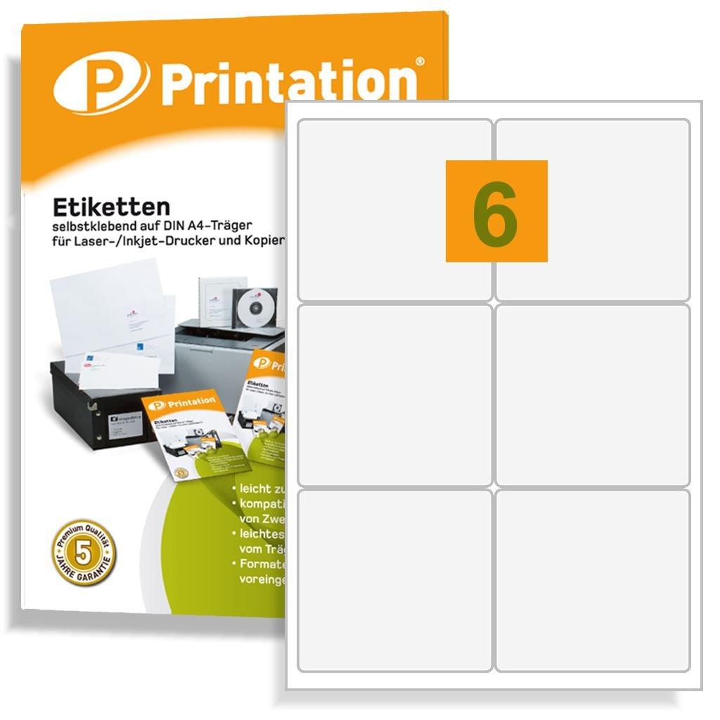 3M 4653 4502 L7166 - Etichette adesive universali, 99,1 x 93 mm, 600 99,1 x 93 mm, su 100 fogli DIN A4, 2 x 3, angoli arrotondati, colore: Bianco Printation