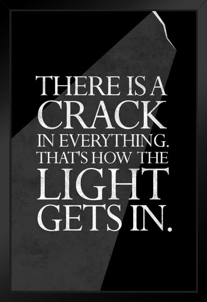 Poster Foundry Theres A Crack in Everything Leonard Cohen Quote Matted Framed Wall Art Print 20x26 inch 236119