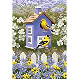 Goldfinch Bird House Lavender And Marigold 30 x 44 Rectangular Large House Flag For Sale