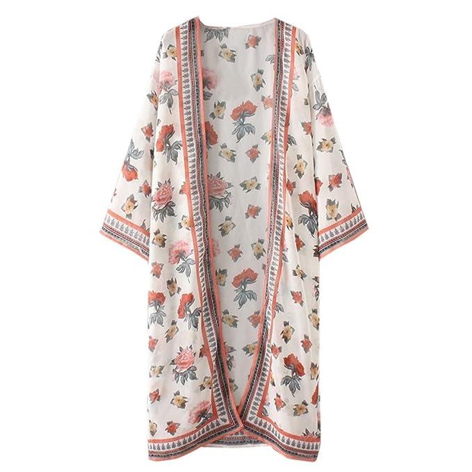 Cloom Frauen Floral Böhmischen Chiffon Kimono Cardigans Bluse Cover ...