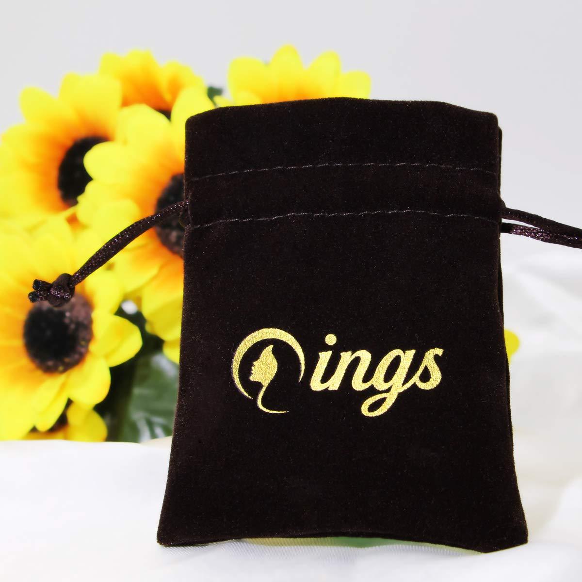 Cadeau pour Femme Fille Qings Bracelet R/églable de Mauvais /œil Fait des Cristaux Bleus en Argent Sterling 925 Plaqu/é Or Blanc