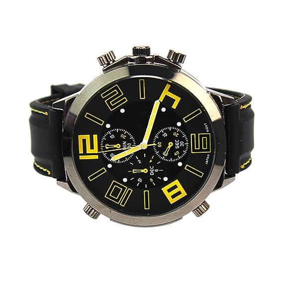 Hombres Reloj de Pulsera Analógico Cuarzo Grande Dial Silicona Deporte Watch