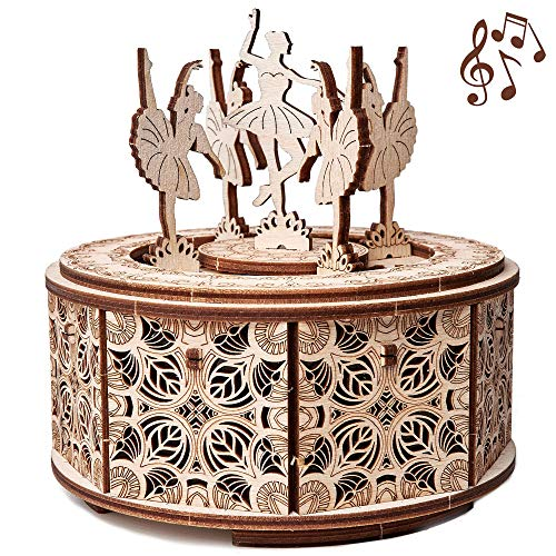 Dancing Ballerina Music Box Kit Swan Lake, DIY Wooden Music Box Ballerina - 3D Wooden Puzzle, Assembly Toy, Brain Teaser, ECO Wooden Toys - Music Box DIY, Ballerina Musical Toys ()
