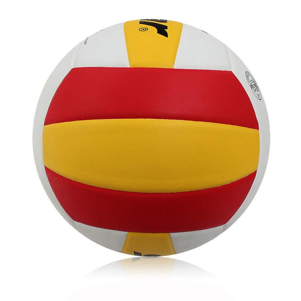 C.N. Volley-Ball intérieur et extérieur de compétition de Formation Gonflable en PU,Rouge Blanc,5