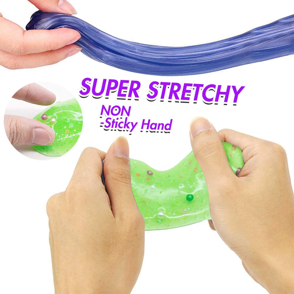VGoodall Slime Eggs,4pcs Colorful Fluffy Slime Eggs Galaxy Fluffy Slime Non Sticky, Stress Toy Party Favor for Kids and Adults