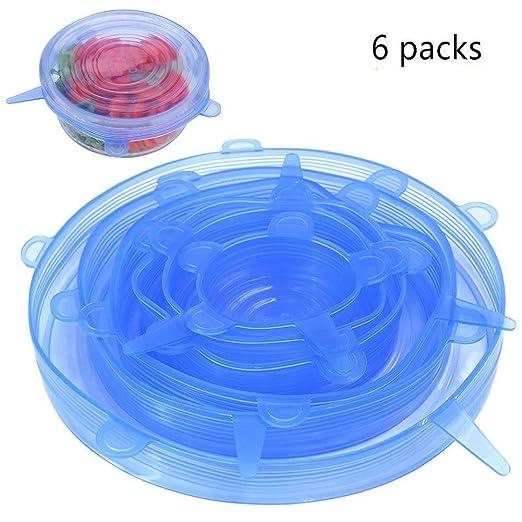 Set Tapas de silicona de grado alimenticio Estiramiento de la tapa del taz/ón de la tapa del protector de alimentos 6PCS