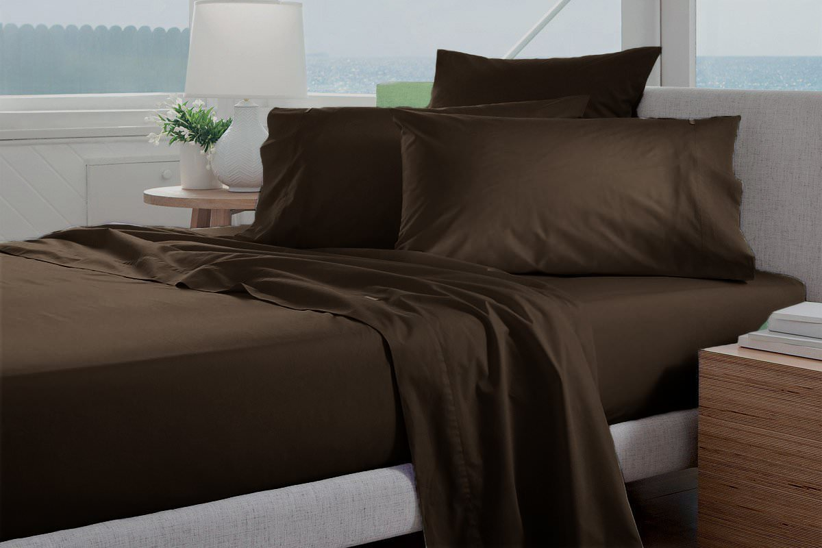 Top Selling Heavy Quality VGI Linen Hotel Collection Egyptian Cotton Sheets- Super Soft 1500-TC 4-PCs Sheet Set With 22'' Inch Deep Pocket, Solid Pattern ( King, Chocolate )