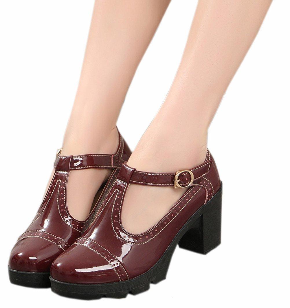 DADAWEN Women's Classic T-Strap Platform Mid-Heel Square Toe Oxfords Dress Shoes B0743H37QR 8.5 B(M) US|Red