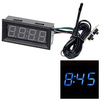 "2 ""coche multifuncional LED azul reloj Digital con pantalla de voltaje temperatura"