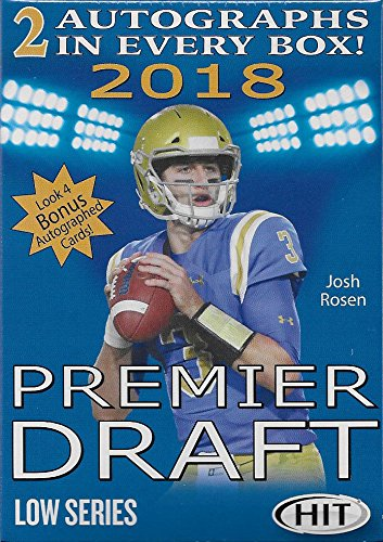 2018 Sage Hit PREMIER NFL DRAFT Low Series Factory Sealed Blaster Box of Packs with 2 GUARANTEED Autographed Cards per box! First 2018 Football Product on the (Smith Football Card)