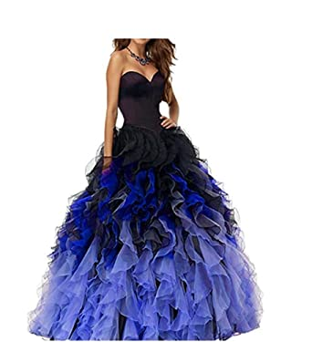 Womens Ombre Lace Up Ruffles Ball Gown Long Prom Quinceanea Dressess Black Blue 2