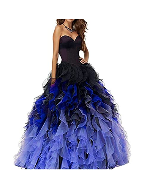 Fwvr Womens Ombre Lace Up Ruffles Ball Gown Long Prom Quinceanea