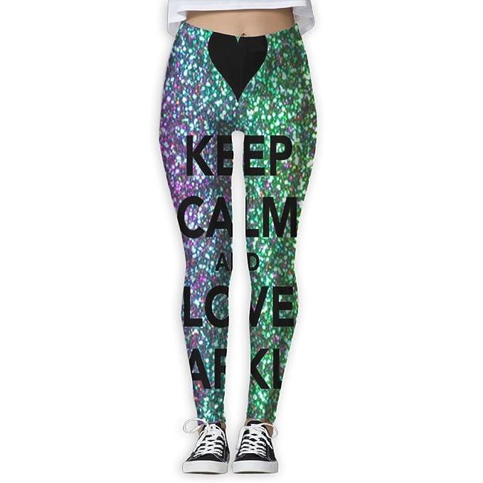 2411c460 Amazon.com: XIUARROWXIU Women's Yoga Capris Keep Calm and Love Sparkles!  Athletic Bandage Running Pants Workout Leggings: Clothing