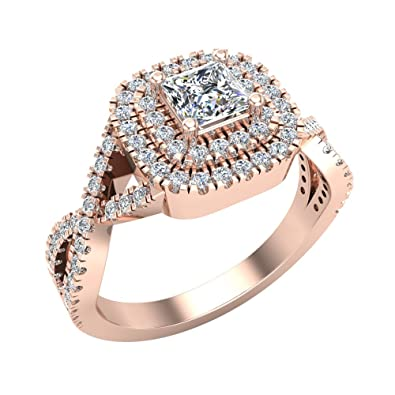 14K Rose Gold Princess Cut Diamond Engagement Ring Square Halo with Twisted  Shank 0.90 Carat Total d8053630a784