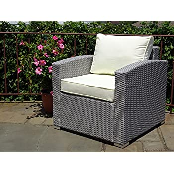 Patio Resin Outdoor Garden Deck Yard Wicker Lounge Chair W/cushion. Gray  Color