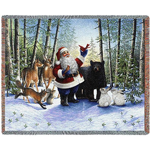 Pure Country Santa in The Forest Blanket Tapestry Throw