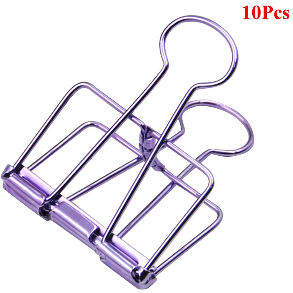 Loghot Large Size Retro Metal Hollow Out Binder Clip Invoice Bill Clip Decorative Paper Clips for Home Office School Use Pack of 10 (Purple)