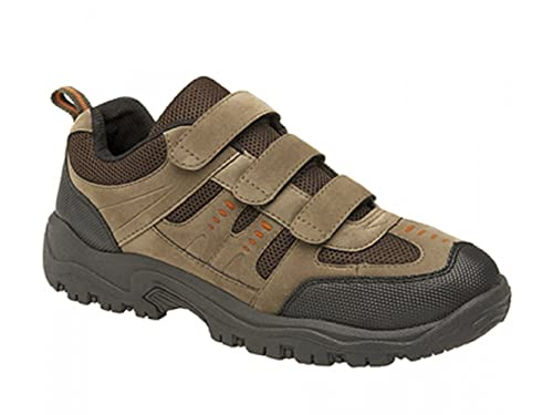 Mens Wide Fitting Twin Velcro Strap Trainers: Amazon.co.uk