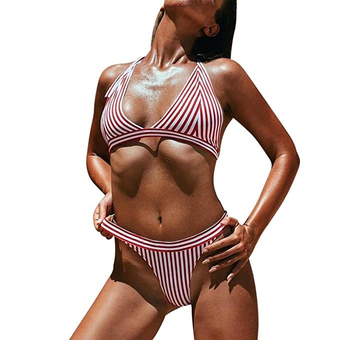 Darringls Traje de baño,Bikinis Mujer 2019 Braga Alta Sexy Bikini Set Halter Push Up Bikini Traje de baño Dividido Bañador Natacion Mujer Cintura Alta ...
