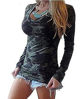 fdbf23763c80 ASSKDAN Damen Camouflage V-Ausschnitte Langarm Drucken T-Shirt Tops Oberteil  Langshirt