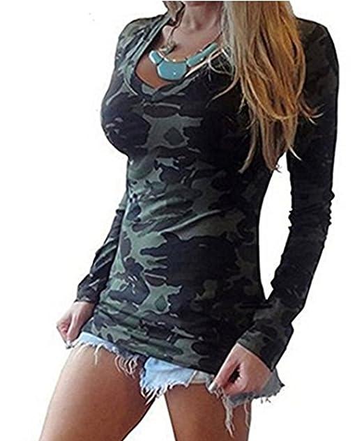 ASSKDAN Damen Camouflage V-Ausschnitte Langarm Drucken T-Shirt Tops  Oberteil Langshirt: Amazon.de: Bekleidung