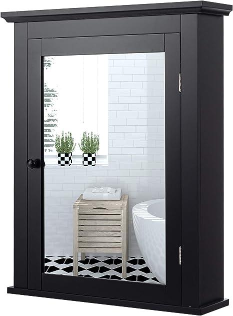 Amazon Com Tangkula Bathroom Cabinet Mirrored Wall Mounted Storage Medicine Cabinet Cabinet With Single Door Adjustable Shelf In 5 Positions Multipurpose Cabinet For Bathroom Vestibule Bedroom Black Kitchen Dining