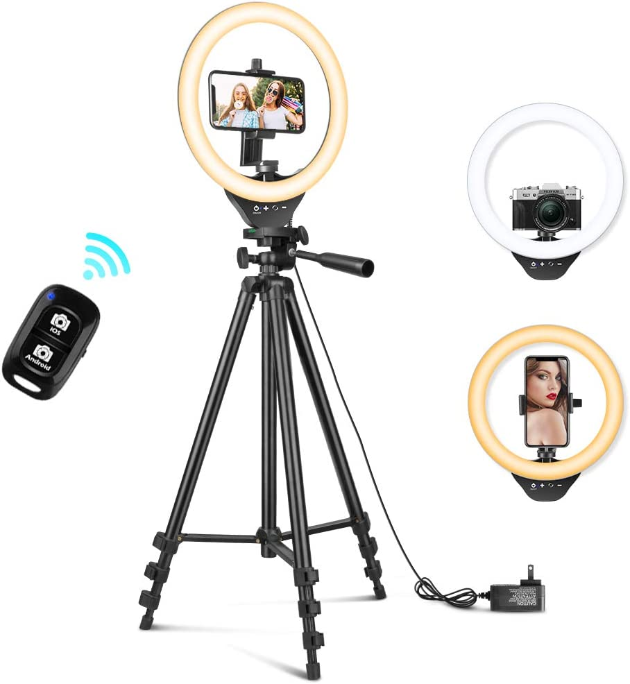 10'' Ring Light with 50'' Extendable Tripod Stand, Sensyne LED Circle Lights with Phone Holder for Live Stream/Makeup/YouTube Video/TikTok, Compatible with iPhone/Android