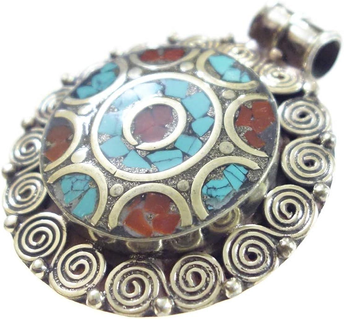 Handmade Designer Pendant For Women//Men Authentic Tibetan Boho Ethnic Tribal Style Unisex Pendant Oxidized Silver Plated Pendant Coral Turquoise Gemstone Fashion Jewelry By Tibetan Silver Artisans