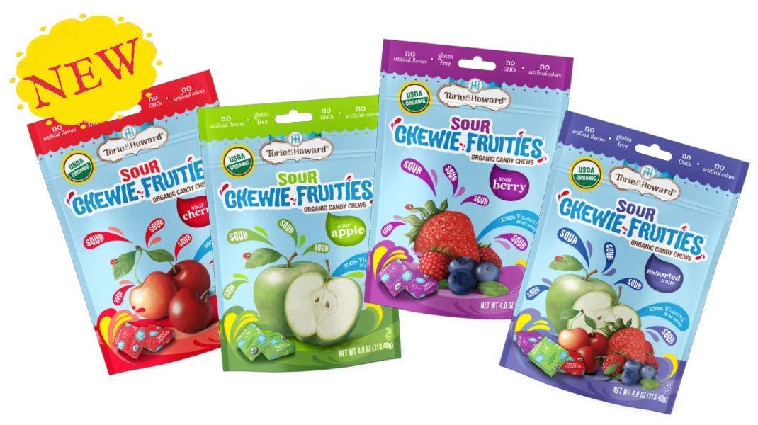 Torie & Howard Organic Gluten Free Chewie Fruities Candy 4 Flavor Variety Bundle: Sour Apple, Sour Cherry, Sour Assortment, Sour Berry. 4oz (4 Pack)