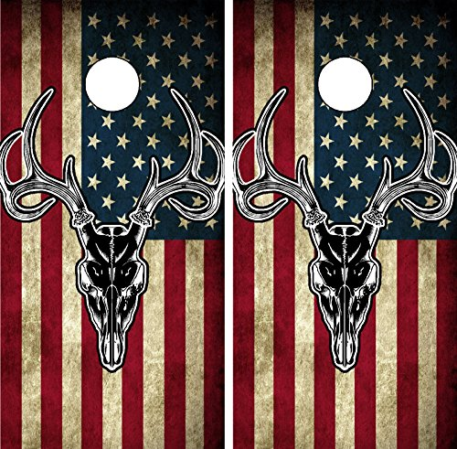 C201 American Flag Deer CORNHOLE WRAP WRAPS LAMINATED
