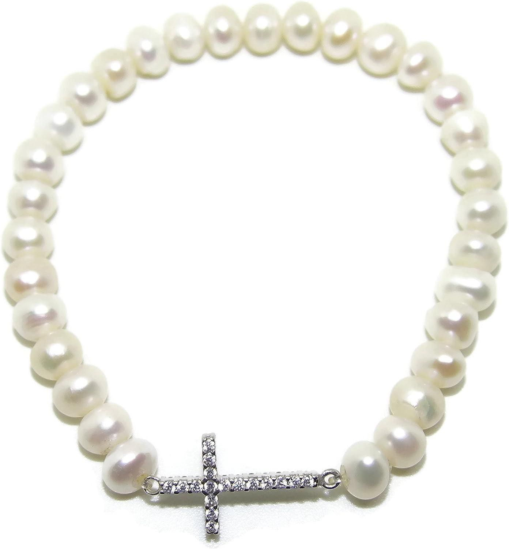 Never Say Never Pulsera elástica con Hilo de 31 Perlas cultivadas de 6mm y Cruz tumbada Reversible de Oro Blanco de 18ktes con 17 circonitas Blancas y 17 circonitas Negras Todas de la Mejor Calidad