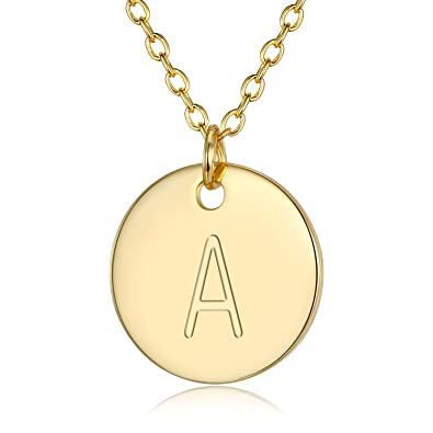 Amazon adjustable initial disc pendant necklace combined with adjustable initial disc pendant necklace combined with personalized alphabet a electroplate 18k gold necklace for aloadofball Image collections