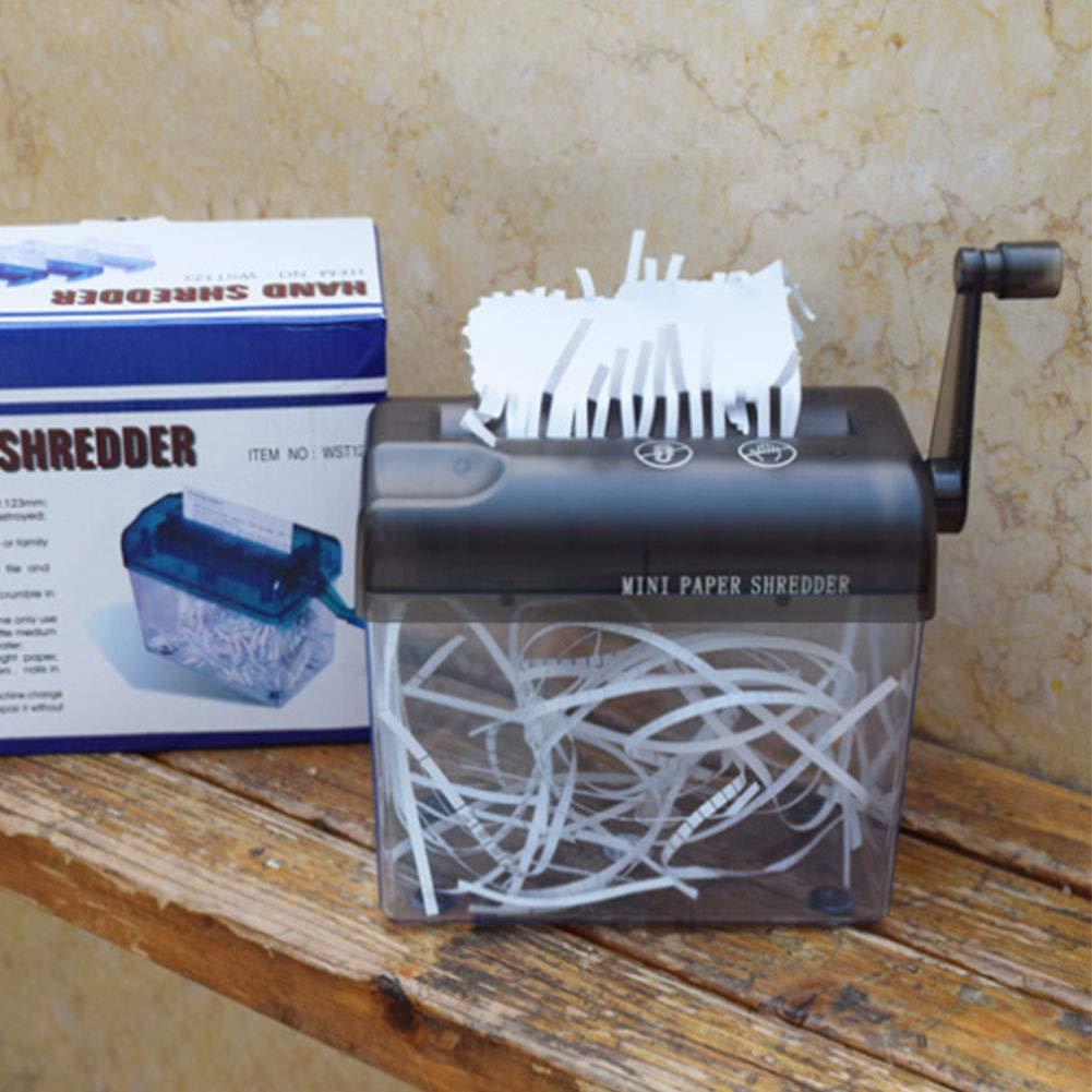 Fassungsverm/ögen 1,5/l gerader Schnitt blau Hand-Aktenvernichter tragbar f/ür A6-Papier oder gefaltetes A4-Papier im/Hochformat